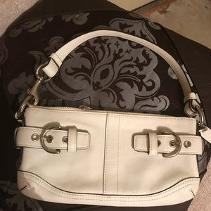 Handbags - Authentic white leather small coach bag